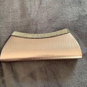 Metallic silver rhinestone clutch